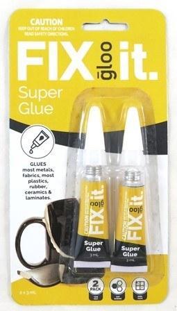 GLOO FIX-IT SUPER GLUE 3 GM X 2 PC #