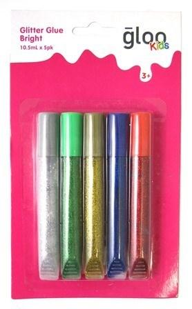 GLOO KIDS GLITTER GLUE BRIGHT 10.5mL 5 PK #