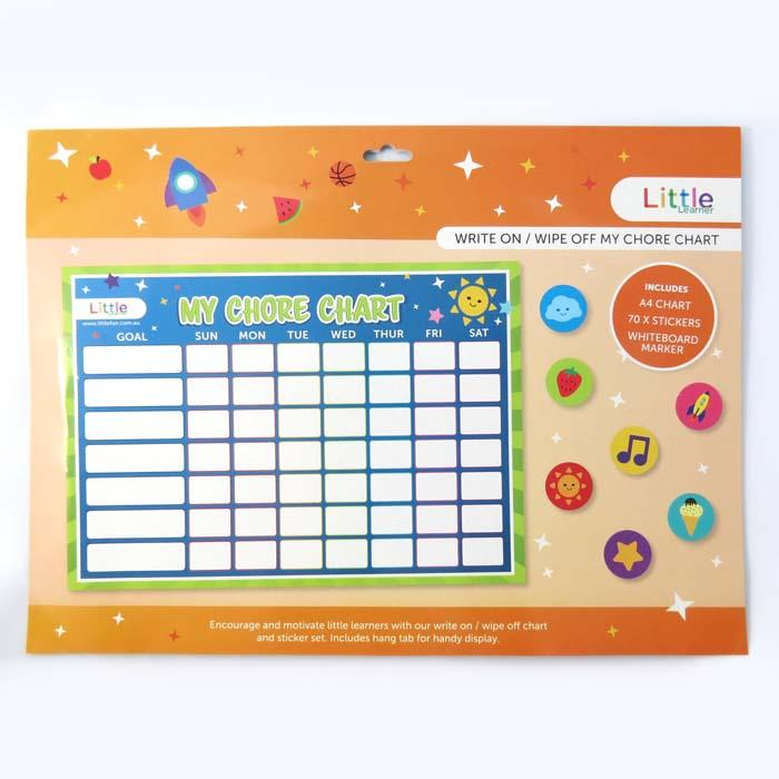 LITTLE WRITE ON/WIPE OFF MY CHORES CHART & STICKER SET
