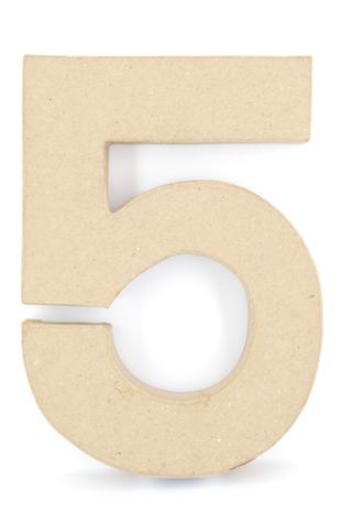 PAPER MACHE NUMBER #5 - 20CM 1 PC #