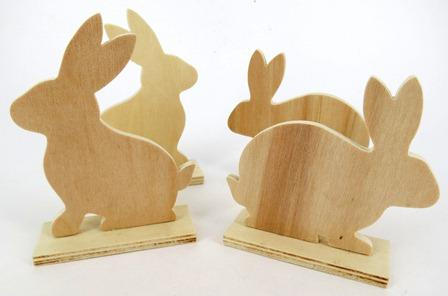 WOOD STAND UP RABBIT (2 DESIGNS) 10 PC