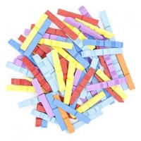 LITTLE WOOD PEGS HALF COLOURED 50 PC ^ - Click for more info