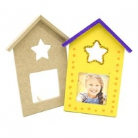 LITTLE WOOD FRAME HOUSE W/STAR CUTOUT 2 PC ^ - Click for more info