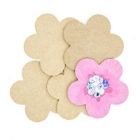 LITTLE WOOD COASTER FLOWER 5 PC ^ - Click for more info