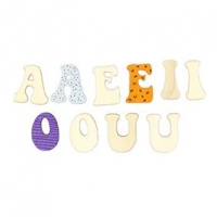 LITTLE WOOD VOWELS UPPERCASE 25 PC ^ - Click for more info