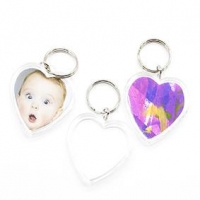 LITTLE KEY TAG HEART CLEAR 50mm 5 PC - Click for more info