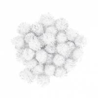 LITTLE POM POMS GLITTER WHITE 18mm 50 PC - Click for more info