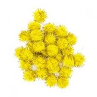 LITTLE POM POMS GLITTER YELLOW 18mm 50 PC - Click for more info