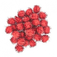 LITTLE POM POMS GLITTER RED 18mm 50 PC - Click for more info