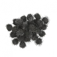 LITTLE POM POMS GLITTER BLACK 18mm 50 PC - Click for more info
