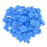 LITTLE POM POMS ASSTD BLUE 100 PC - Click for more info