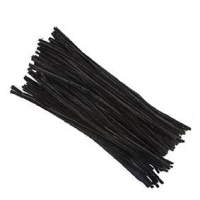 LITTLE CHENILLE STICKS BLACK 300 X 6mm 100 PC - Click for more info