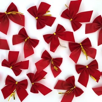 MINI BOWS RED 5.5 X 6.5CM 30 PC - Click for more info