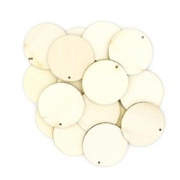 LITTLE WOOD BEADS ROUND RAW FLAT 20 PC : - Click for more info