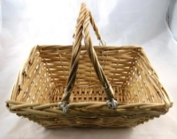 BASKET CANE WILLOW RECT LGE W/MOVEABLE HANDLES # - Click for more info