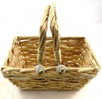 BASKET CANE WILLOW RECT SMALL W/MOVEABLE HANDLES # - Click for more info
