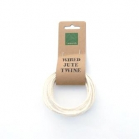 WIRED JUTE TWINE 3mmX2m BLEACHED WHITE # - Click for more info
