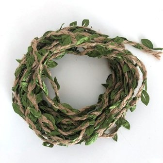 JUTE BRAID W/IMITATION LEAF STRING GREEN 5 M - Click for more info