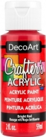 DECOART CRAFTERS ACRYLIC BRIGHT RED PAINT 59mL - Click for more info