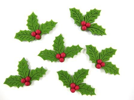 FELT STICKERS XMAS HOLLY 20 PC - Click for more info