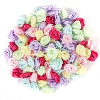 LITTLE FABRIC ROSETTES 15mm 100 PC ^ - Click for more info