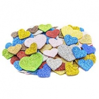 LITTLE FOAM SHAPES HEARTS GLITTER 72 PC ^ - Click for more info
