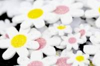 LITTLE FOAM SHAPES DAISY GLITTER W/ADH 104 PC ^ - Click for more info