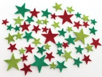 FOAM STICKERS XMAS STARS GLITTER 42 PC - Click for more info