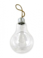 GLASS LIGHT BULB TERRARIUM  14cm W/JUTE HANGER # - Click for more info