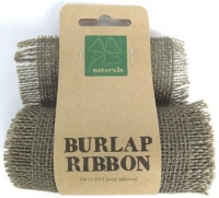 BURLAP RIBBON 9.5cm x 1m DARK NATURAL 1 ROLL * - Click for more info