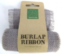 BURLAP RIBBON 9.5cm x 1m GREY 1 ROLL * - Click for more info