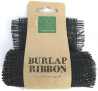 BURLAP RIBBON 9.5cm x 1m BLACK 1 ROLL * - Click for more info