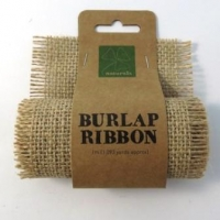 BURLAP RIBBON NATURAL 9.5cm X 1M # - Click for more info
