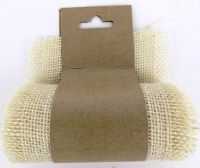 BURLAP RIBBON 9.5cm x 1m WHITE 1 ROLL # - Click for more info