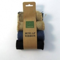 Burlap Ribbon 9.5 cm X 1m Value Pack- 3 Rolls Natural, Indigo, Blue & Black # - Click for more info