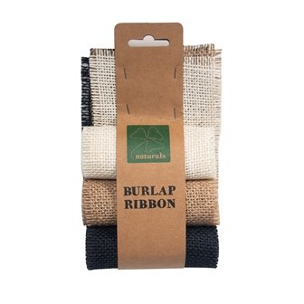 BURLAP RIBBON 9.5CM X 1M  VALUE PACK- 3 ROLLS  BLEACHED WHITE, NATURAL, BLACK # - Click for more info