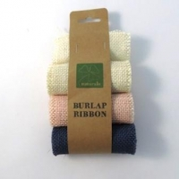 BURLAP RIBBON 9.5 CM X 1M VALUE PACK - 3 ROLLS BLEACHED WHITE, PINK, INDIGO BLUE - Click for more info