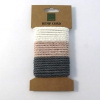 HEMP CORD TWISTED 3 X 1.7 M  BLEACHED WHITE, PINK AND GREY # - Click for more info