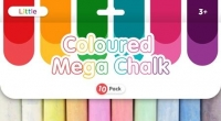 LITTLE COLOURED MEGA CHALK 10 PC - Click for more info