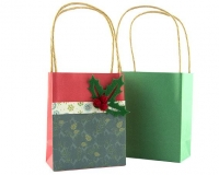 PAPER BAGS W/HANDLE XMAS MULTI 12 PC - Click for more info