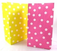PAPER BAGS POLKA DOT PINK/YELLOW 12 PC - Click for more info