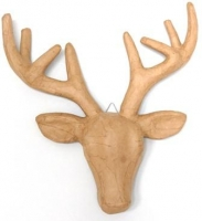 PAPER MACHE DEER HEAD W/ANTLERS # - Click for more info