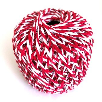PAPER ROPE BALL 2-PLY RED/WHITE 20M - Click for more info