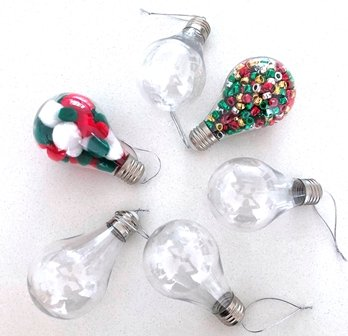 PLASTIC LIGHTBULB ORNAMENT 6 PC - Click for more info