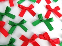SATIN RIBBON BOWS XMAS W/ADH 50 PC - Click for more info