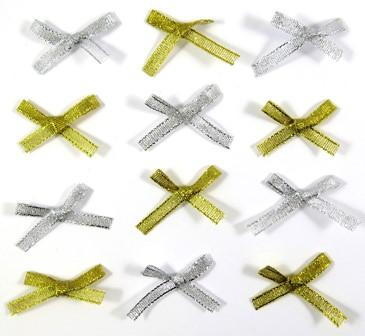 SATIN RIBBON BOWS GOLD/SILVER W/ADH 50 PC - Click for more info