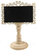 CHALKBOARD TABLE ORNAMENT ORNATE BLACK/NATURAL 1 PC # - Click for more info
