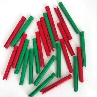 WOOD PEGS DOLLY CHRISTMAS MINI 24 PC - Click for more info