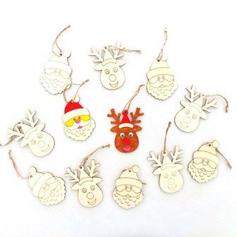 WOOD CHRISTMAS SHAPES W/OUTLINE 12 PC - Click for more info