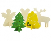 WOOD XMAS 3D SHAPES 5 DESIGNS 10 PC - Click for more info